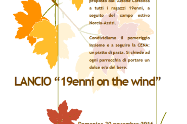 Il lancio dei 19enni on the wind!